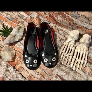 Tuk Black Cat Flats Punk Pinup Retro sz 8